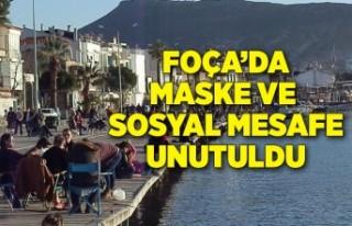 Foça'da maske ve sosyal mesafe unutuldu, sahiller...