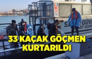 İzmir'de 33 kaçak göçmen kurtarıldı