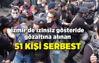 İzmir'de izinsiz gösteride gözaltına alınan...