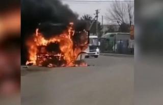 Rusya'da yolcu otobüsünde yangın