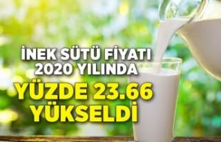TÜİK - İnek sütü fiyatı 2020 yılında yüzde...