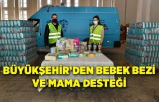 Büyükşehir'den bebek bezi ve mama desteği
