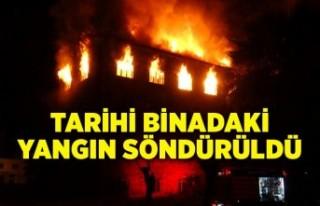 Tarihi binadaki yangın söndürüldü