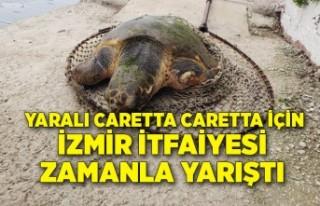 Yaralı Caretta caretta için İzmir İtfaiyesi zamanla...