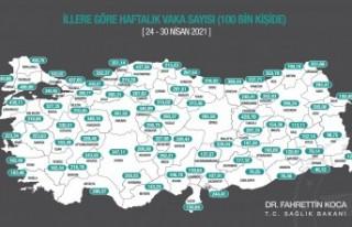 İllere Göre Haftalık Vaka Sayısı Haritası güncellendi