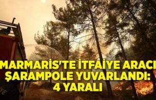 Marmaris'te itfaiye aracı şarampole yuvarlandı:4...
