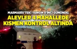 Marmaris'teki yangın 8'inci gününde;...