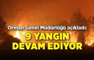 Orman Genel Müdürlüğü açıkladı: 9 yangın...