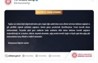 Ankara Valiliği'nden sağanak uyarısı