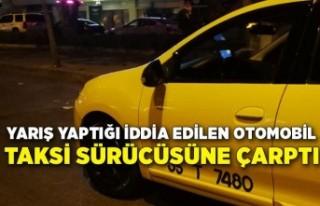 Yarış yapan otomobil yol kenarındaki taksi sürücüsüne...