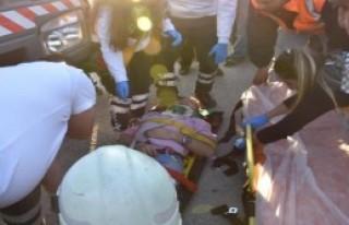 Beton vinci ile motosiklet çarpıştı: 1 yaralı