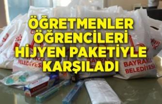 BAYSEM'de öğretmenler öğrencileri hijyen paketiyle karşıladı