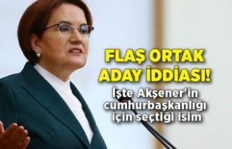 Flaş ortak aday iddiası! İşte Akşener'in cumhurbaşkanlığı için seçtiği isim