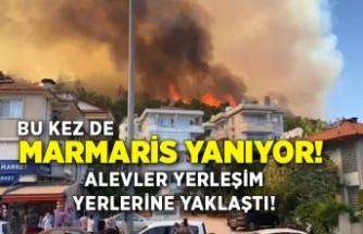 Marmaris'te orman yangını! Yerleşim yerlerine yaklaştı!