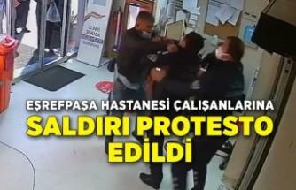 Eşrefpaşa Hastanesi çalışanlarına saldırı protesto edildi