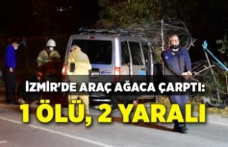 İzmir'de araç ağaca çarptı: 1 ölü, 2 yaralı
