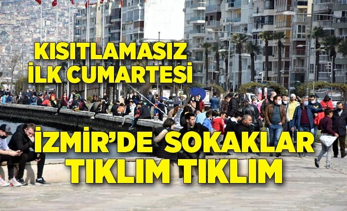 İzmirliler kısıtlamasız ilk cumartesi günü Kordon'un keyfini çıkardı